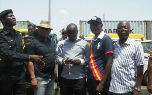 L-R-Chairman-Task-Force-Bayo-Suleiman-General-Manager-LASTMA-Engr.-Babatunde-Edu-Commissioner-for-Transportation-Comrade-Kayode-Opeifa-and-Chairman-Lagos-State-Park-Monitoring-Committee-Alhaji-Oladosu-Fas